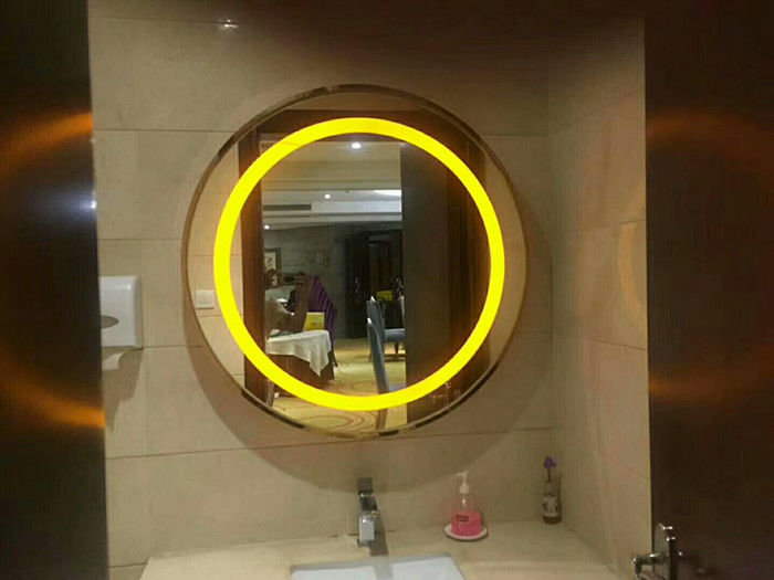 3000K Or 6000K Wall Mounted LED Strip Mirror / Round Oval Vanity Mirror With Lights