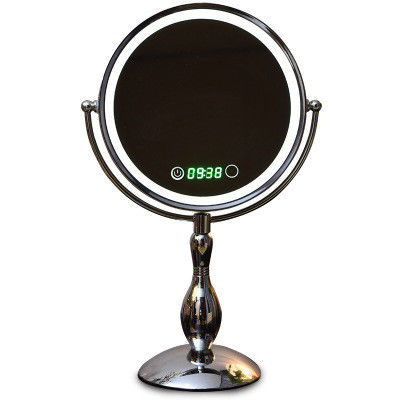 Decorative Round Led MakeUp Mirror Double Sided With Time Show