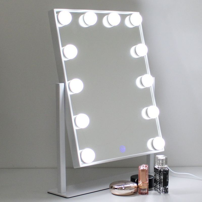 Anti - Slip Foam Base Led MakeUp Mirror Square Warm White / Cool White