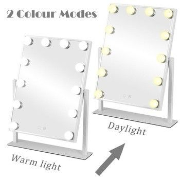 Tabletops Led MakeUp Mirror With LED Bulb & Dimmer USB Powered