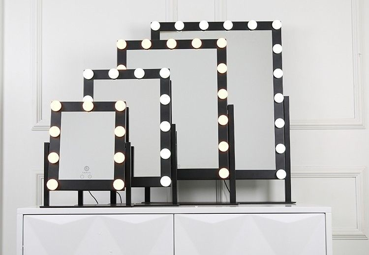 50x60cm Big Size 18pcs Led MakeUp Mirror With Time Function Optional